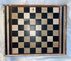 Antique Folk Art Painted Gameboard Wooden Inlay Game Board Old Surface