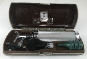 Vintage Welch Allyn Otoscope Ophthalmoscope Diagnostic Set Bakelite Case Works