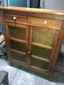 Vintage Pie Safe 6 Punched Pierced Tin Panels Cabinet Cupboard Farmhouse Mission