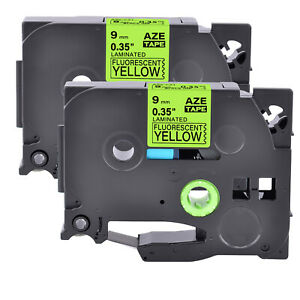 2pk Compatible With Brother P touch Tz c21 Black On Fluo Yellow 0 35 Label Tape