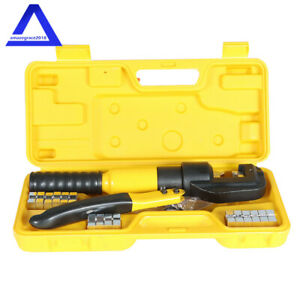 5 Ton Hydraulic Crimper Crimping Tool W 9 Dies Wire Battery Cable Lug Terminal