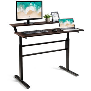 Standing Desk Crank Adjustable Sit To Stand Workstation With Monitor Shelf Brown