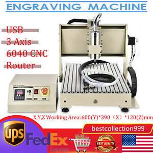 Usb 3axis 1 5kw Cnc6040 Router Engraver Drilling Milling Machine Woodwork Cutter