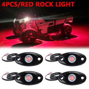4x Rgb Led Rock Lights Pod Offroad Truck Boat Lamp Under Glow Timing Music Mode