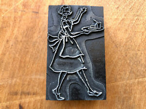 Antique Printing Block 1950s Woman In Apron Waving Carrying Tray Of Food Drink