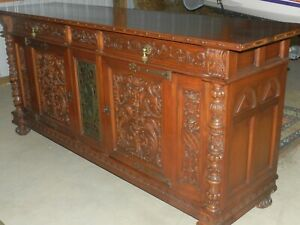Huge Amazing Solid Wood Dining Set 9 Pieces 12 Table Chairs Cabinet Buffet