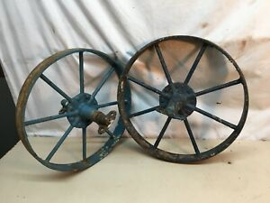 Vintage Cast Iron Wagon Cart Wheels Pair 15 5 Diameter X 1 3 4in Thick