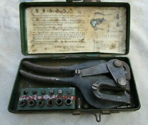 Vintage No 5 Jr Punch Set Whitney Metal Tool Co Rockford Ill patent 1914