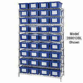 Wire Shelving With 12 10 h Nest Stack Shipping Totes Blue 72x24x63
