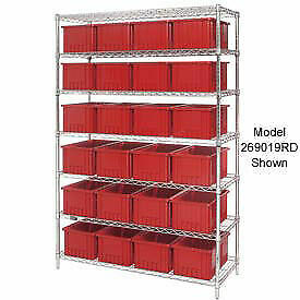 Wire Shelving With 36 6 h Grid Container Red 48x18x74