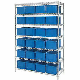 Wire Shelving With 24 8 h Grid Container Blue 48x18x74