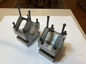 Machinist Setup Set Of 2 V blocks With Clamps 1 4 20 Threaded Holes For Clamps