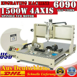 Usb 4 Axis Cnc 6090z Router Engraver 3d Metal Milling Cutting Machine 110v 1 5kw
