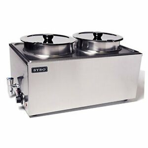 Zck165bt 4 Commercial Grade Stainless Steel Bain Marie 2 Round Pots With Tap