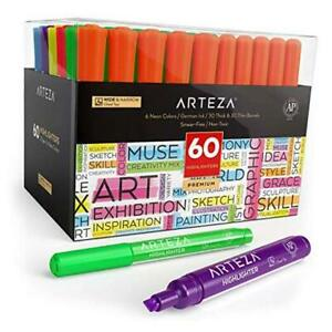 Highlighters Set Of Bulk Pack Of Colored Markers Wide And 60 Assorted Colors