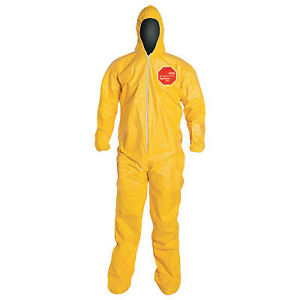 Tychem 2000 Coveralls With Attached Hood And Socks 2x large Yellow