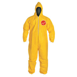 Tychem 2000 Coveralls With Attached Hood Serged Seams Yellow Large