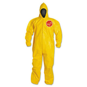 Tychem 2000 Coveralls With Attached Hood Bound Seams Yellow 3x large