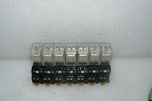 Lot Of 7 Omron My224vdc Relays And 11 Pyf08ae Bases