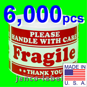 Ml35101 6 000 3x5 Handle With Care Fragile Label sticker