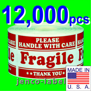 Ml23101 12 000 2x3 Handle With Care Fragile Label