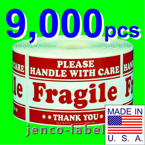 Ml23101 9 000 2x3 Handle With Care Fragile Label sticker