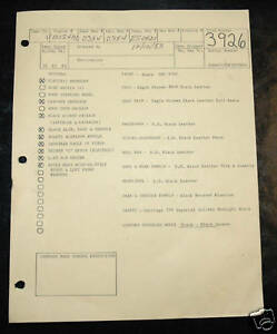 Vintage Avanti Studebaker Parts 1963 1985 Build Sheets Aka Factory Manifest