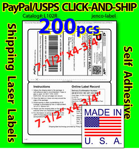 L102r 200 Paypal usps Click and ship Shipping Labels