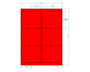 4 X 3 1 3 Neon fluorescent Red Labels Laser Only 312355