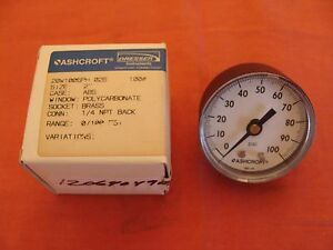 New Old Stock Ashcroft Pressure Gauge Size 2 20w1005ph 02b 100psi Socket Brass