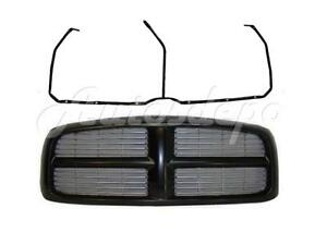 For 02 03 04 05 Dodge Ram 1500 Pickup Blk Grille W B