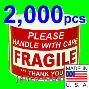 Ml35104 2 000 3x5 Handle With Care Fragile Label sticker