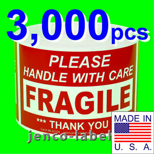 Ml35104 3 000 3x5 Handle With Care Fragile Label sticker