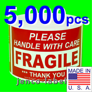 Ml35104 5 000 3x5 Handle With Care Fragile Label sticker
