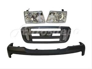 For 06 09 Ford Ranger Bumper Grille Gray Headlight 4pc