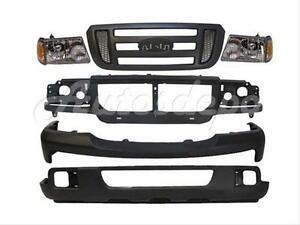 For 07 Ford Ranger Bumper Header Panel Grille Headlight 8pc