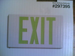 Nib Green Led Emergency Exit Sign W Batery Back up