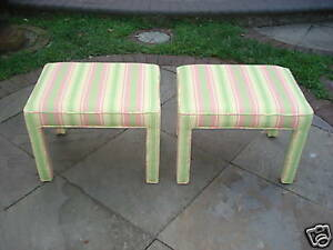 Pair Upholstered Stools Regency Mod