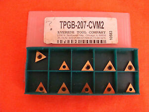 New Old Stock Everede Tpgb 207 cvm2 Carbide Inserts Lot Of 10