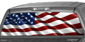 American Flag Rear Window Graphic Decal Tint Truck Suv Striped Banner Rear