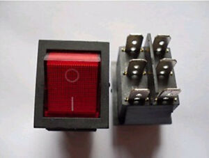 50pcs Dpdt Red Indicator Light 6 Pin Rocker Switch