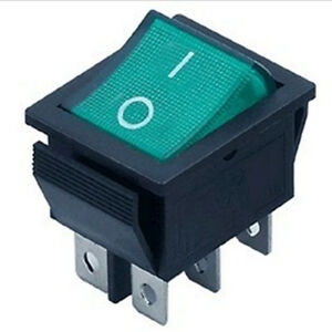 50pcs Dpdt Green Indicator Light 6 Pin Rocker Switch
