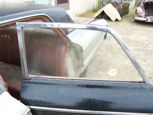 63 Ford Galaxie 500 Left Rear Back Door Glass Window Frame Surround Moldings