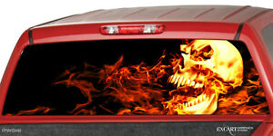 Flaming Skull Burning Rear Window Graphic Decal Truck Suv Cap Camper Shell Chevy