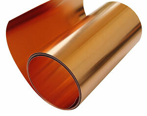 Copper Sheet 5 Mil 36 Gauge Tooling Metal Foil Roll 36 X 10 Cu110 Astm B 152