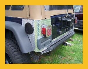 97 06 Jeep Tj Wrangler Diamond Plate Rear Body Armor Corner Guard Kit 3pc Nice