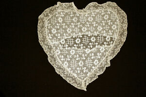 Rare Victorian Hand Stitched Cotton Lace Heart Pillow Case 17 By 17