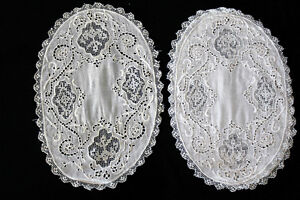 Exceptional Victorian Edwardian Hand Made Embroidered Lace Table Linens 12 X 8