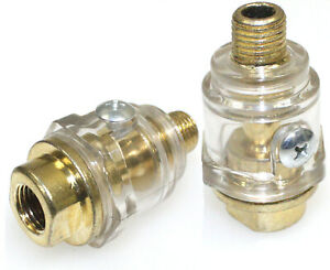 Lot Of Two Mini In line Oiler Lubricator Oil Solid Brass Air Line Oiler 1 4