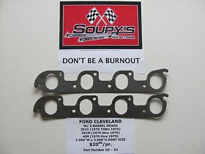Ford Cleveland Exhaust Gaskets w 2v Heads 351c 351m 400 1 59 X 2 00 Ports